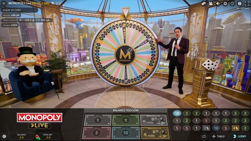 monopoly live game screen
