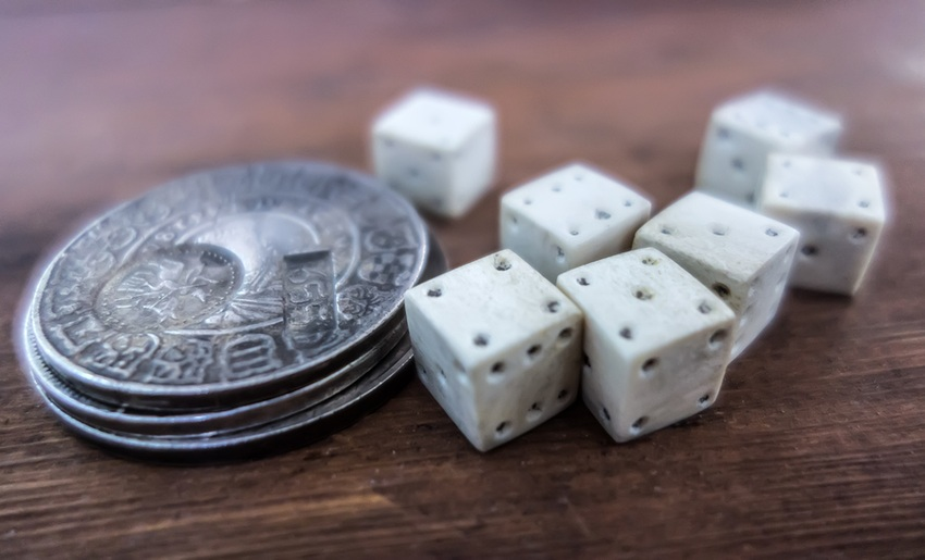 old dice and coins