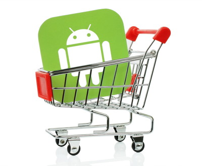 android logo in shopping trolly